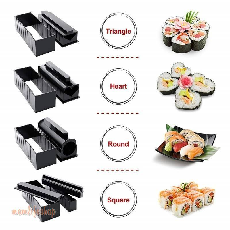 10 Pcs/Set Sushi Maker Kit Rice Ball Cake Roll Mold Japanese Sushi Chef Kit DIY Homemade Sushi Making Mould Kitchen Sushi Tools Kitchen and Household color: 10PCS