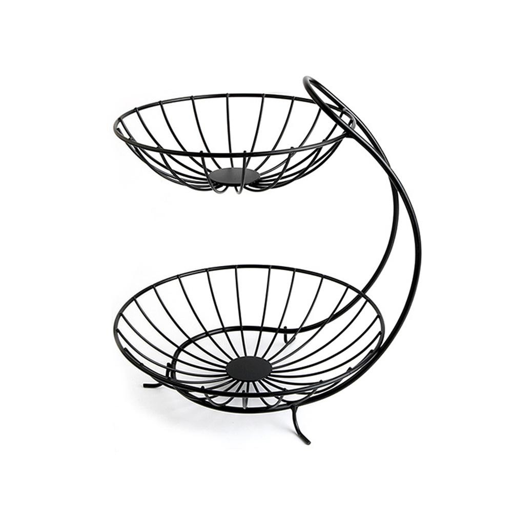 Creative Metal Fruit Basket Rack Living Room Fruit Drain Basket Home Iron Fruit Snack Bowl Storage Basket Desktop Kitchen Organ