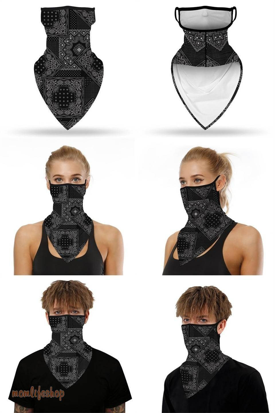 2020 Leopard Print Triangle Face Mask Men Women Breathable Balaclava Bandana Scarf Reusable Scarves Hanging Ear Half Face Shield