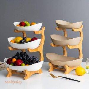Ceramic candy dish living room home three-layer fruit plate snack plate creative modern dried fruit fruit basket WF730250 Kitchen and Household color: 2 layer Pottery|2 layer White|3 layer Pottery|3 layer White|bamboo 2 layer|bamboo 3 layer