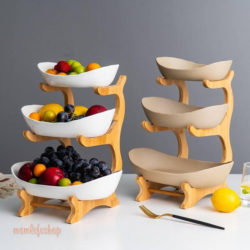 Ceramic candy dish living room home three-layer fruit plate snack plate creative modern dried fruit fruit basket WF730250 Kitchen and Household color: 2 layer Pottery 2 layer White 3 layer Pottery 3 layer White bamboo 2 layer bamboo 3 layer