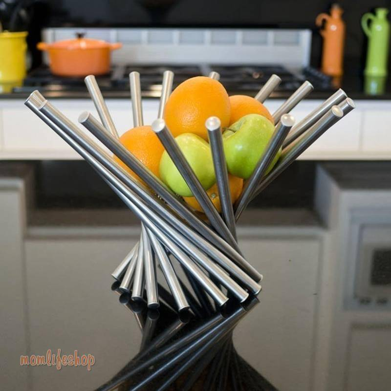 Creative Collapsible Stainless Steel Fruit Bowl Kitchen & Dinning Table Decoration Fruit Basket Silver Kitchen and Household color: Silver