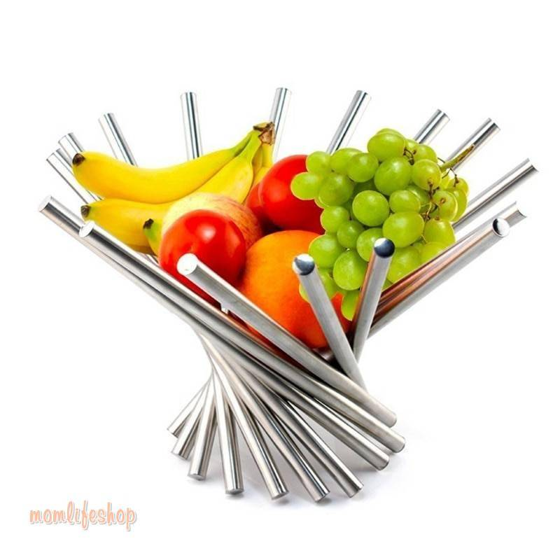 Creative Collapsible Stainless Steel Fruit Bowl Kitchen & Dinning Table Decoration Fruit Basket Silver