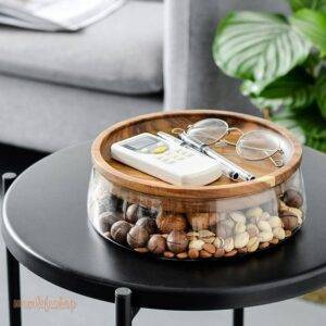 Creative Glass Nuts And Dry Fruits Storage Box Container Double Layer Candy Storage Box With Wooden Lid For Home Kitchen Supply Kitchen and Household Plate Type: Snack Plates
