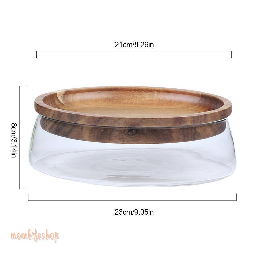 Creative Glass Nuts And Dry Fruits Storage Box Container Double Layer Candy Storage Box With Wooden Lid For Home Kitchen Supply