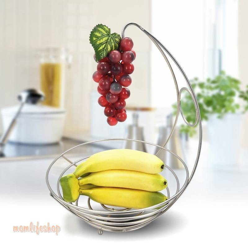Creative Lovely 2 in 1 Banana Hanger Fruit Bowl Iron Holder Storage Basket Stand Hook Kitchen Storage FP8 AU06 Kitchen and Household color: as shown