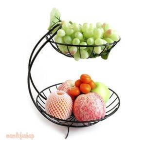 Creative Metal Fruit Basket Rack Living Room Fruit Drain Basket Home Iron Fruit Snack Bowl Storage Basket Desktop Kitchen Organ Kitchen and Household color: Black