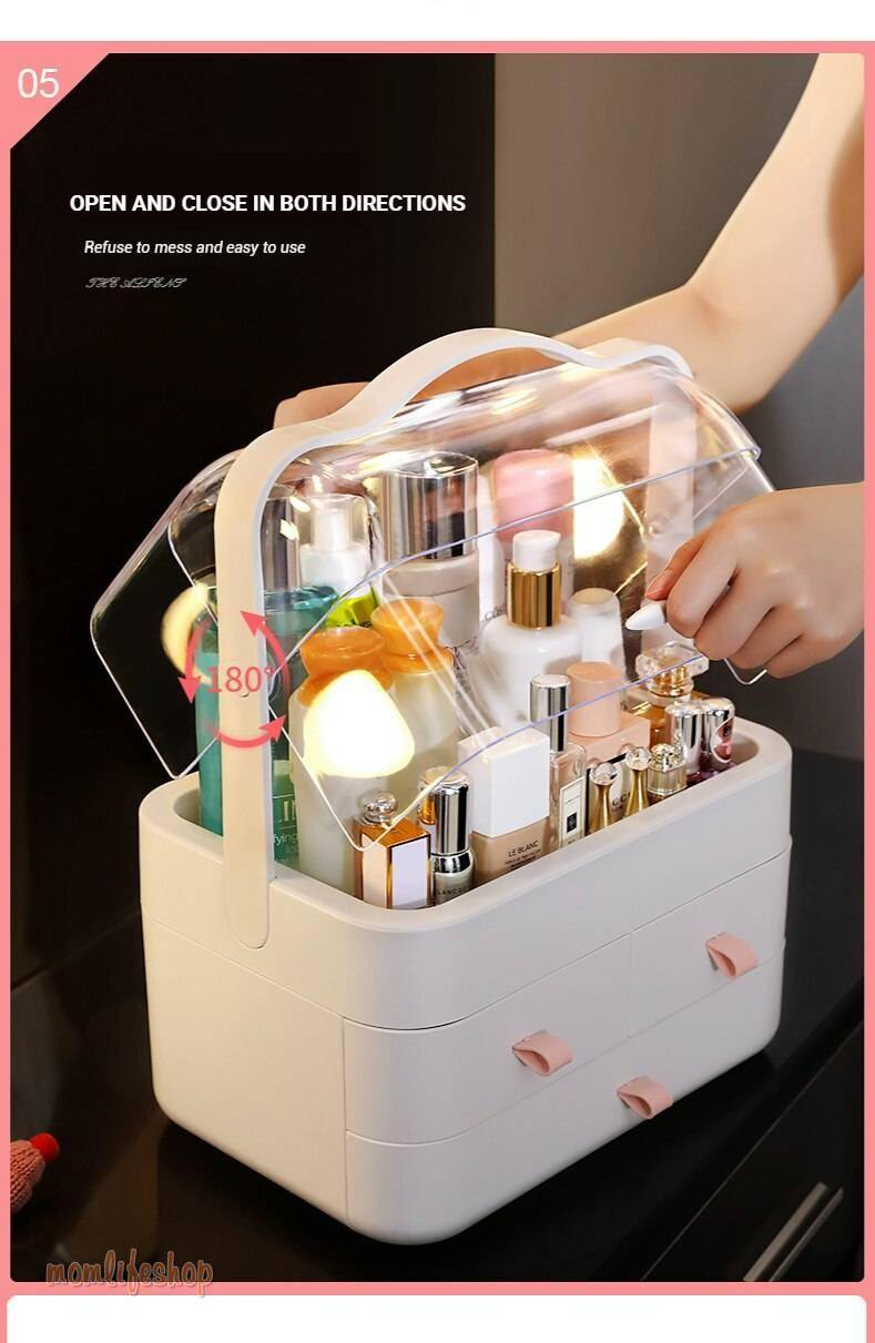 Makeup Storage Box Dustproof Waterproof Cosmetic Case Desktop Storage Box Jewlery Box Gift for a Girlfriend makeup organizer