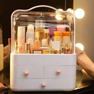 Makeup Storage Box Dustproof Waterproof Cosmetic Case Desktop Storage Box Jewlery Box Gift for a Girlfriend makeup organizer Beauty and Wellness color: Fairy galaxy pink