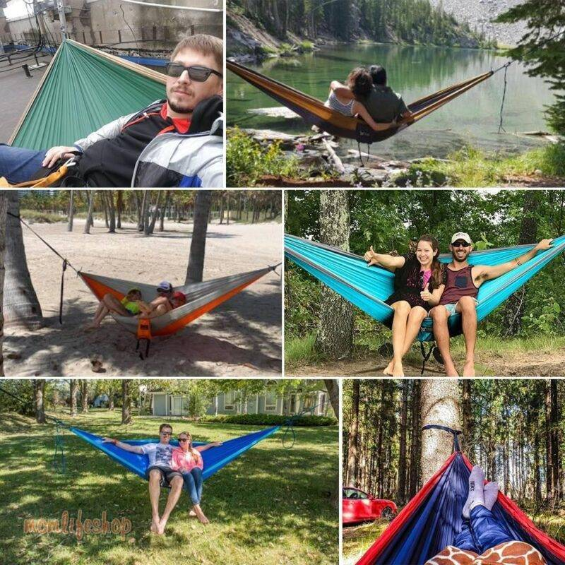 Upgrade Camping Hammock Outdoor Tourist Hanging Hammocks Portable Parachute Nylon Hiking Hammock For Backpacking Travel New and Interesting Finds color: Dark Bright Green|Grey and Blue|Grey and Orange|Khaki and Dark Grey|Khaki and Olive|Light Blue and Navy|Red and Dark Grey|Yellow and Dark Grey