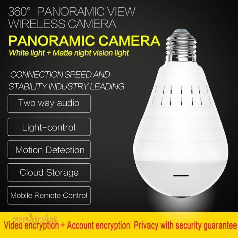 Videcam Wifi Panorama Camera Security Lamp Panoramic Bulb CCTV Video Wireless Ip Camera Surveillance Fisheye HD Camera Tech and Electronics color: Upgraded version with 32G card with 64G card