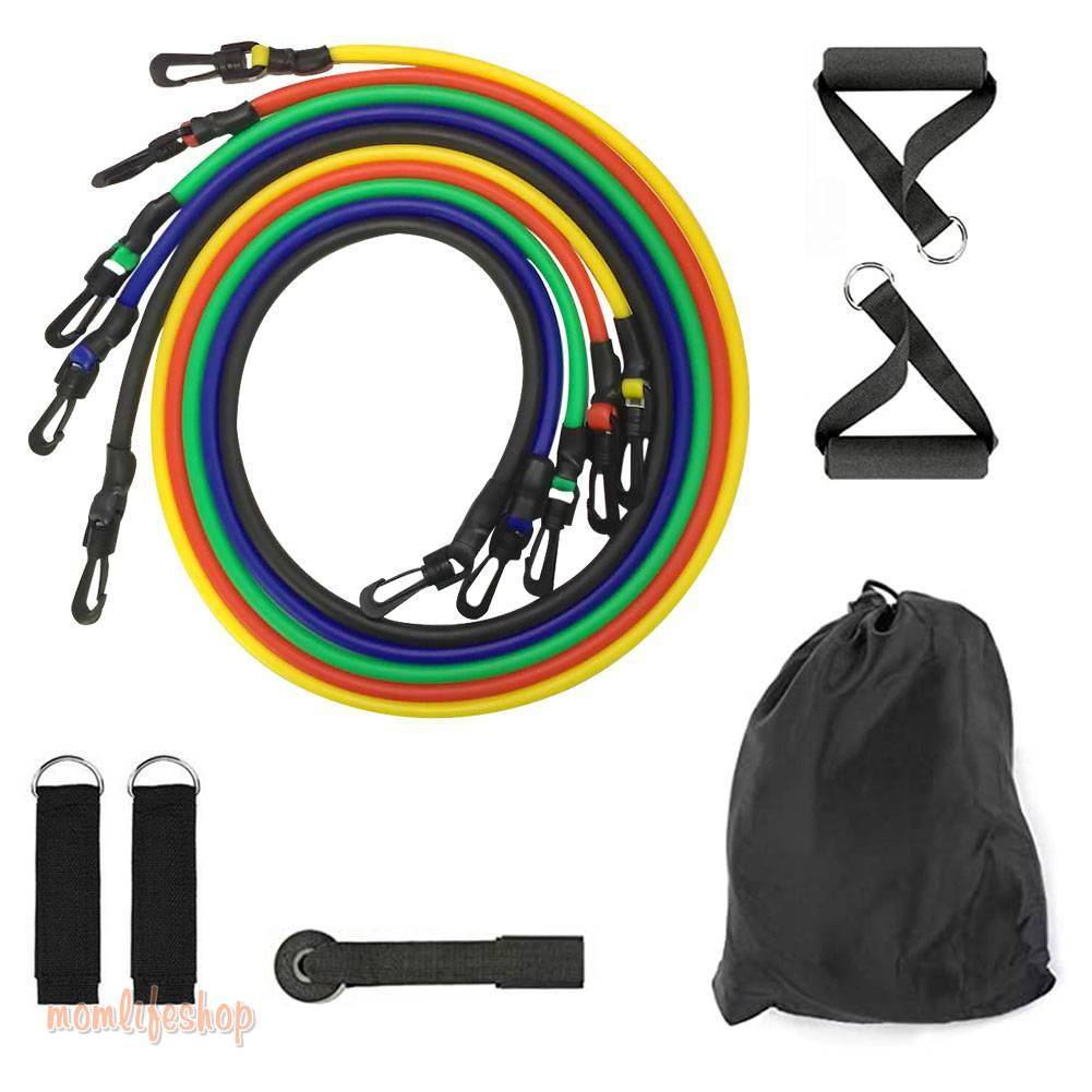 11pcs Pull Rope Fitness Exercises Resistance Bands Set Training Yoga Band Gym Fitness Equipment