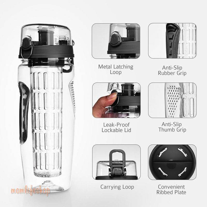 1L Portable water bottle Tritan Drinkware Bottle Fruit Infuser Bottle Juice Shaker travel Sport Water Bottle detox bottle Beauty and Wellness 3b8f7696879f77dfc8c74a: 1000ml