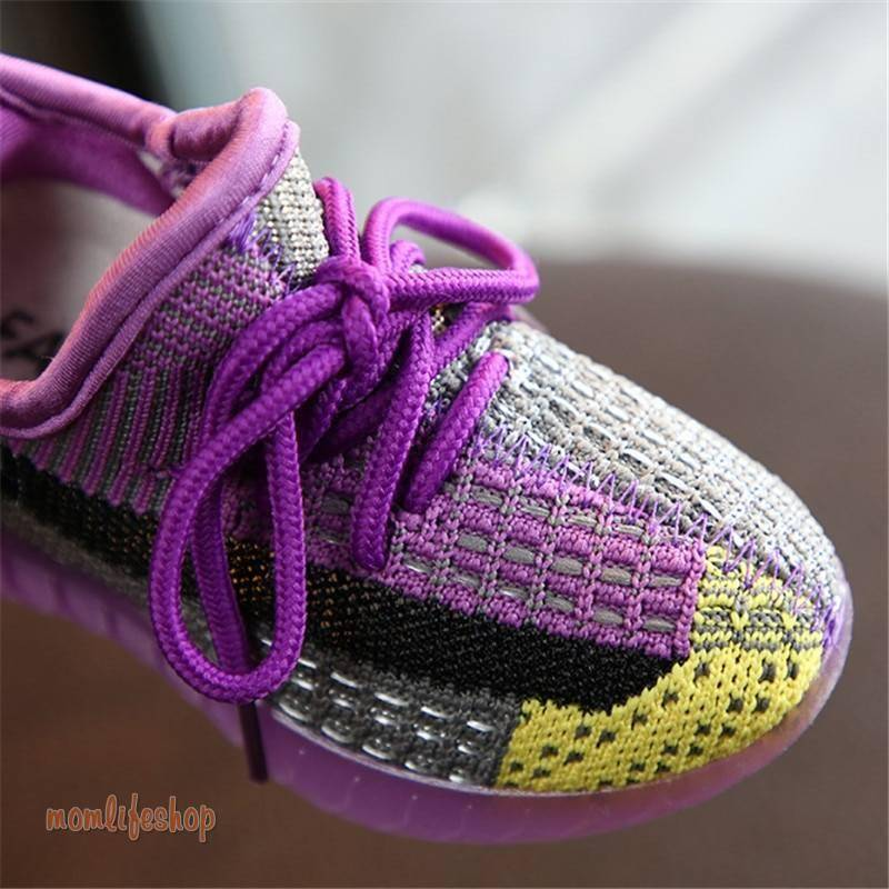 2020 New Autumn Kids Shoes Unisex Toddler Girls Boys Sneakers Mesh Breathable Fashion Casual Children Shoes Size 21-30 Toys, Kids and Baby color: Black|Purple