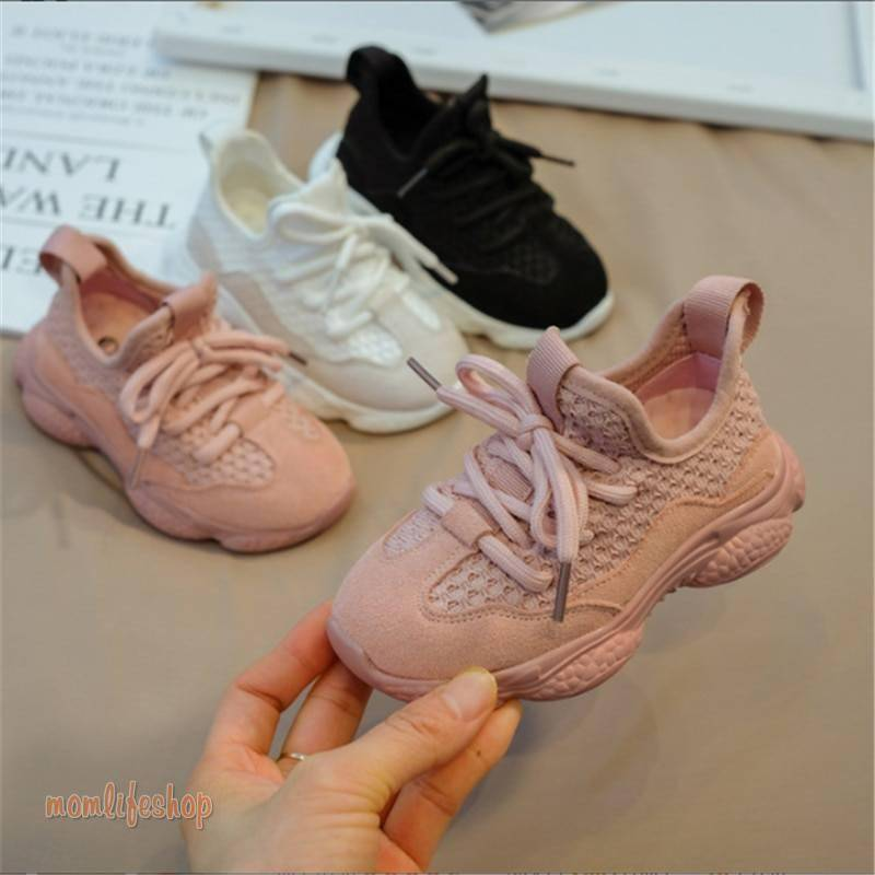 2020 New Spring/Autumn Children Shoes Unisex Toddler Boys Girls Sneakers Mesh Breathable Fashion Casual Kids Shoes Size 21-30 Toys, Kids and Baby color: Black|pink(pink sole)|White