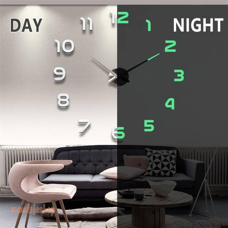 2020 New Wall Clocks 3D DIY Clock Acrylic Mirror Stickers Home Decoration Living Room Quartz Needle Self Adhesive Hanging Watch Tech and Electronics color: Black|Gold|Luminous|Silver|Silver 2
