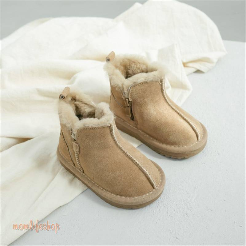2020 New Winter Children Snow Boots Genuine Leather Wool Girls Boots Plush Boy Warm Shoes Fashion Kids Boots Baby Toddler Shoes Toys, Kids and Baby color: Beige|Black|Pink
