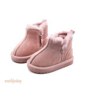 2020 New Winter Children Snow Boots Genuine Leather Wool Girls Boots Plush Boy Warm Shoes Fashion Kids Boots Baby Toddler Shoes Toys, Kids and Baby color: Beige Black Pink