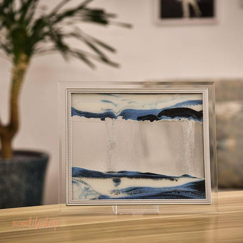 3D Dynamic Flowing Grit Sand Painting Transparent Glass Frame Drawing Landscape For Home Decor Gifts Office FP8 New and Interesting Finds color: Blue|Pink|Purple