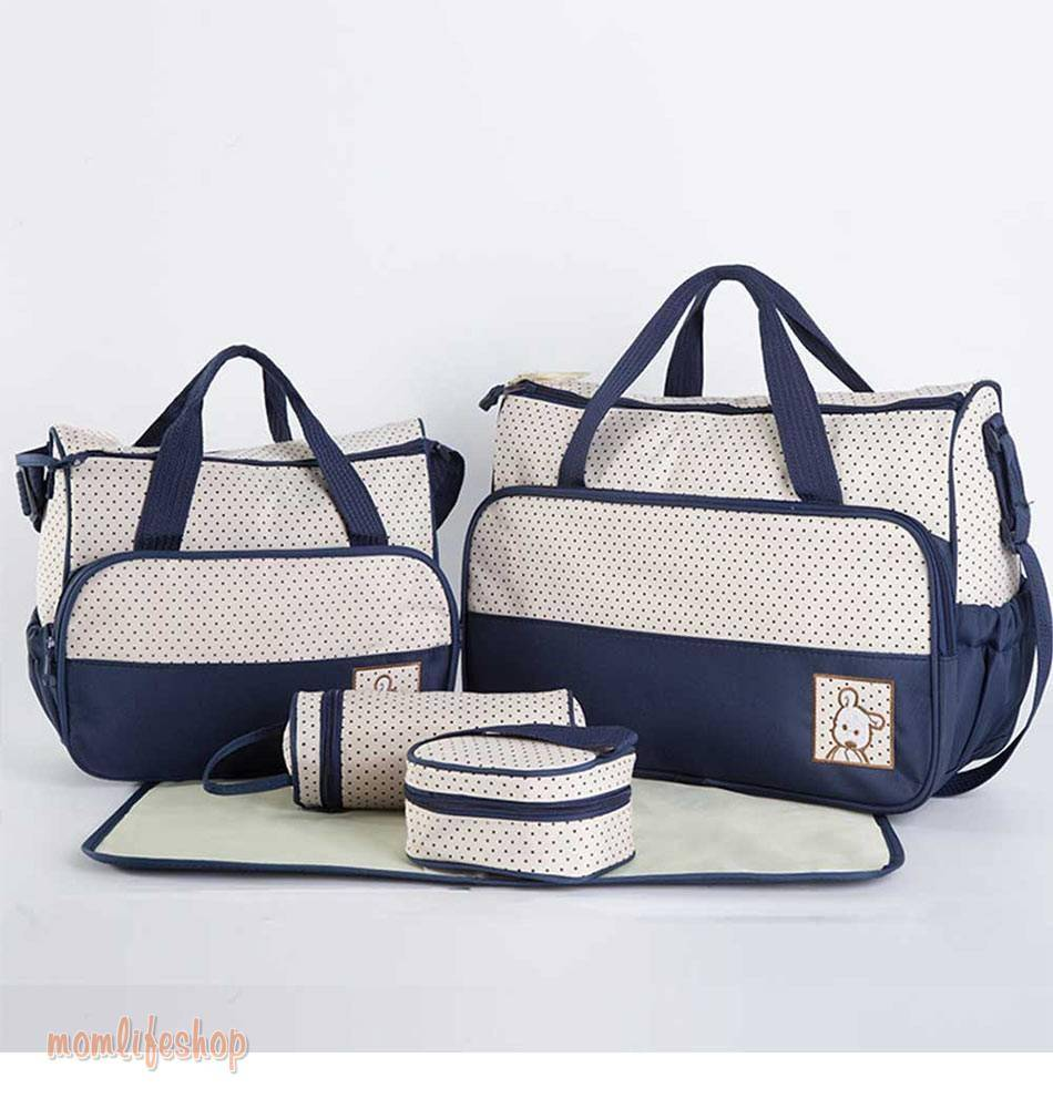 5 pcs/set Baby Care Diaper Bag Mummy Stroller Handbag Set Maternity Nursery Organizer Hobos Nappy Changing Mat Bottle Holder