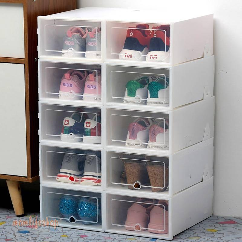6pc Transparent shoe box storage shoe boxes thickened dustproof shoes organizer box can be superimposed combination shoe cabinet Fashion and Accessories color: 31X21X12.5cm black 6|31X21X12.5cm mix 6|31X21X12.5cm pink 6|31X21X12.5cm white 6|34X24X14cm black 6|34X24X14cm blue 6|34X24X14cm mix 6|34X24X14cm white 6