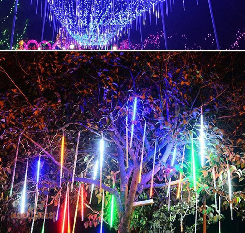 8 Tubes Led Fairy Lights Christmas String Lights Street Garland Outdoor Festoon Curtain Halloween Decoration Meteor Shower Light