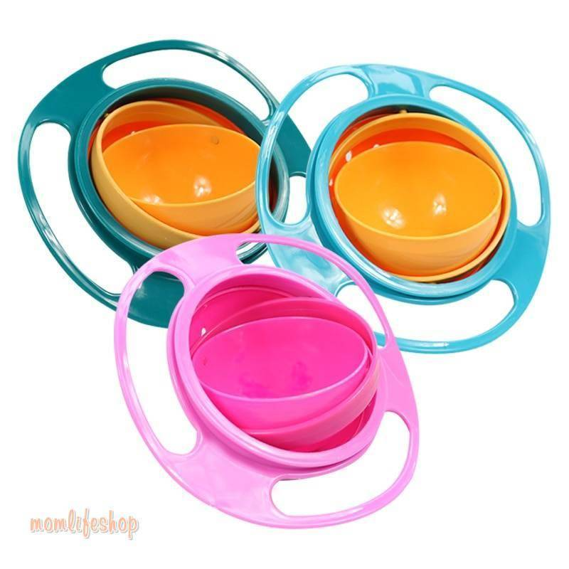 Baby's Rotating Plastic Bowl color: Blue|Green|Rose Red