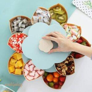 Creative Double-layer Rotary Storage Box Flower Design Plastic Snack Candy Box Fruit Basket Wedding Decoration Organizer Kitchen and Household color: 1|2|3|4|5|6