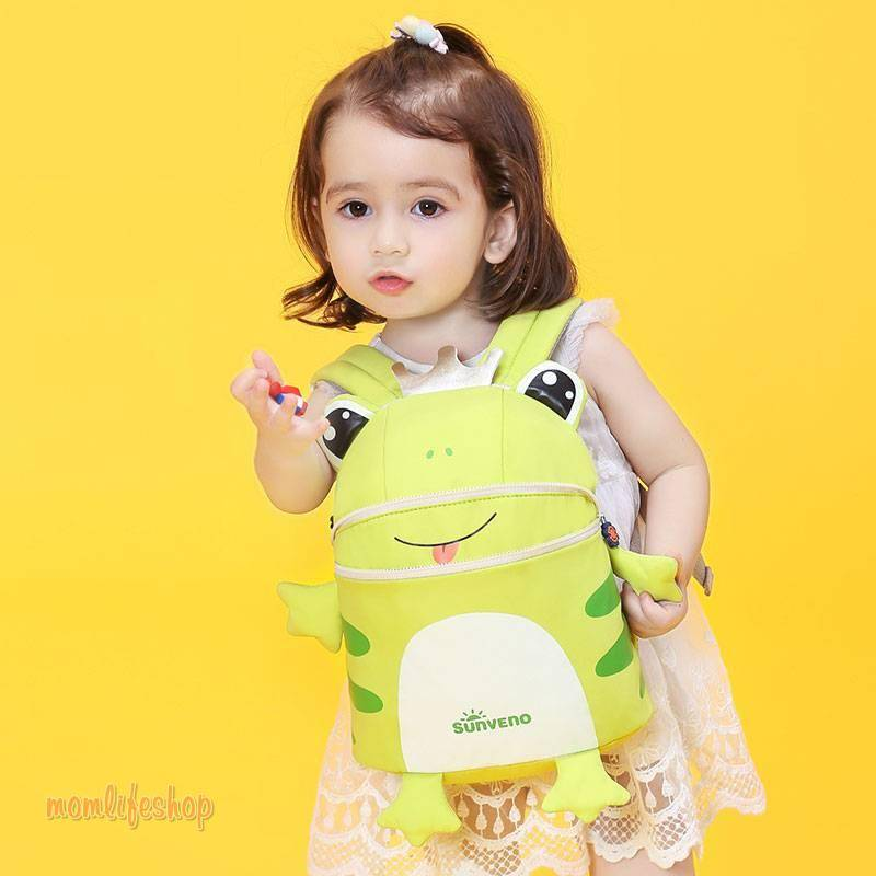 Cute Animal Shaped Safety Baby Backpack with Leash Toys, Kids and Baby color: Fox Frog