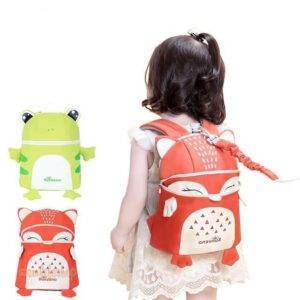 Cute Animal Shaped Safety Baby Backpack with Leash Toys, Kids and Baby color: Fox|Frog