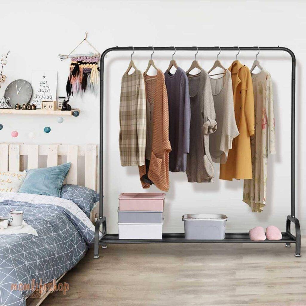 Floor Drying Rack Pole Style Coat Hanger Metal Clothing Rack Home Storage Wardrobe Clothing Balcony Coat Rack With Shoe Rack Kitchen and Household 1ef722433d607dd9d2b8b7: United States