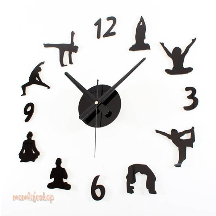 Hot Sale Yoga Large Wall Clocks Mirror Effect Living Room Diy Wall Clock Meditation Zen Wall Art Home Decoration Frameless Clock Tech and Electronics color: Black