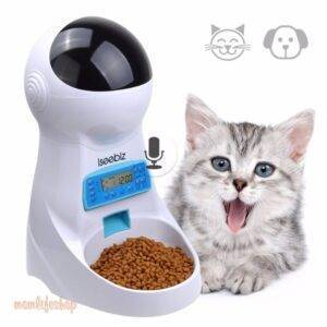 LCD Screen Automatic Pet Feeder with Voice Record Pet Supplies color: White