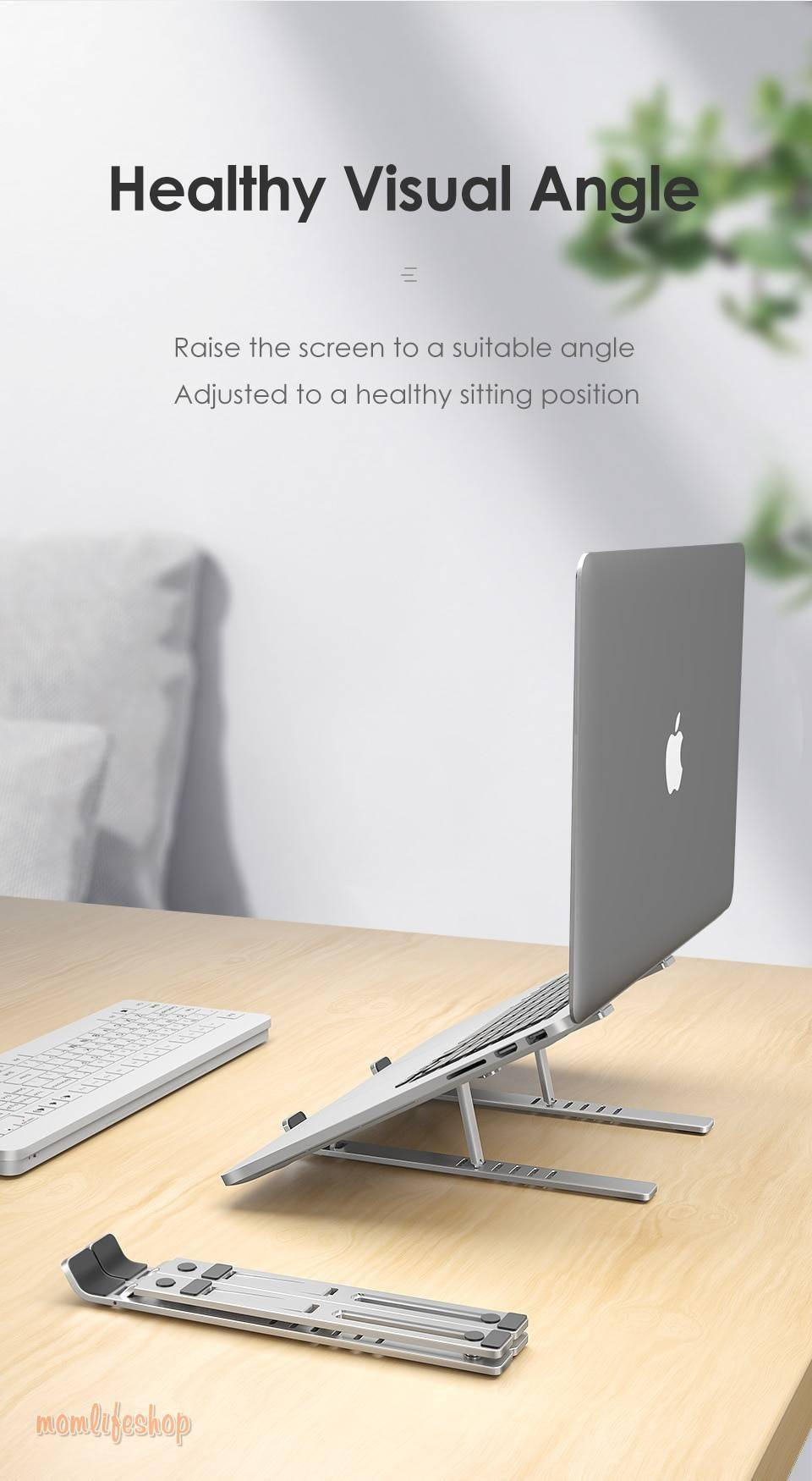 LINGCHEN Laptop Holder for MacBook Air Pro Notebook Foldable Aluminium Alloy Laptop Stand Bracket Laptop Holder for PC Notebook