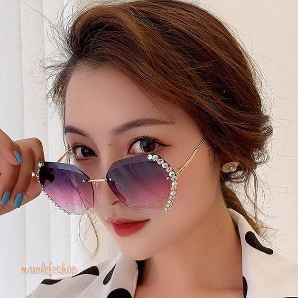 Luxury Vintage Crystal Sunglasses Fashion and Accessories color: Brown|Coffee|Gray|Purple