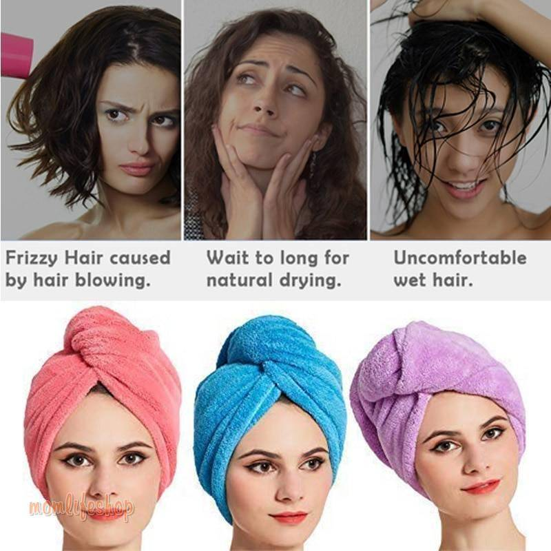 Magic Quick Hair Dry Towel Women Bathroom Super Absorbent Thicker Microfiber Bath Towel Hair Dry Cap Salon Towel Beauty and Wellness color: Blue|Pink|Purple|Red|Stripe|Yellow