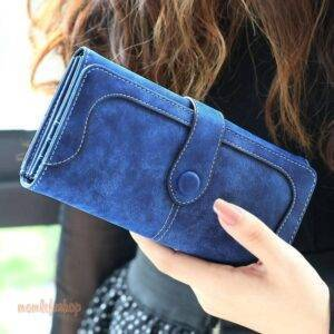 Many Departments Faux Suede Long Wallet Women Matte Leather Lady Purse High Quality Female Wallets Card Holder Clutch Carteras Fashion and Accessories color: Black|Blue|Brown|Dk Blue|Green|Pink|Purple|Red|Rose|Yellow