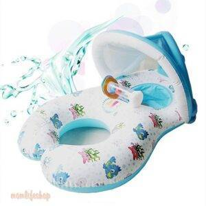 Mother and Child Double Swim Ring with Rattle Toys, Kids and Baby color: White
