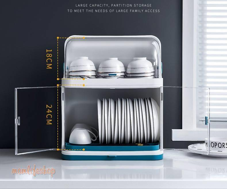 Mrosaa 2 Layers Table Plastic Dishes Rack Kitchen Plate Storage Holder Drainer Bowl Dish Drying Rack Home Cupboard Organizer