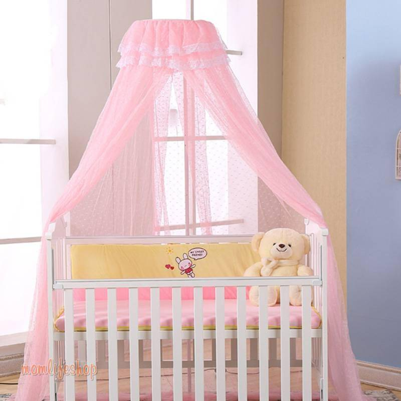 Polka Dot Net Canopy with Round Holder Toys, Kids and Baby color: Blue|Pink|White|Yellow