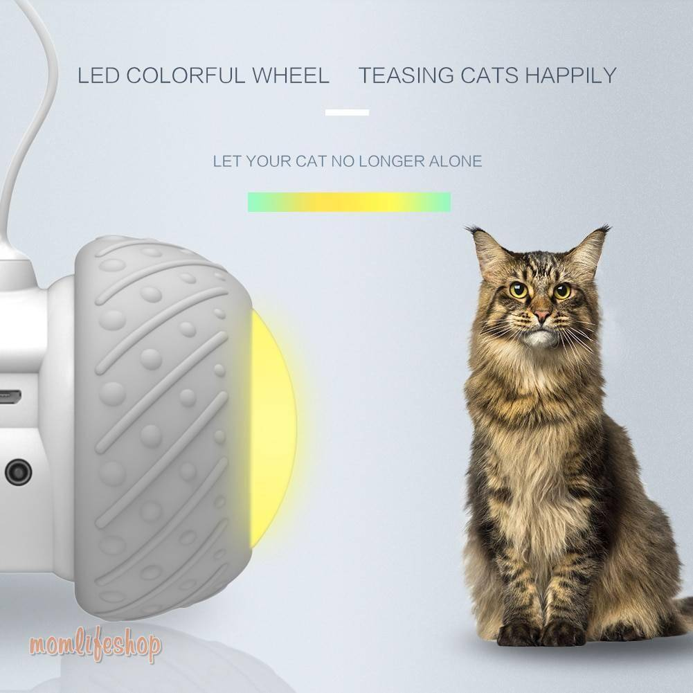 Smart Interactive Cat Toy Lrregular Rotating Mode Toy Cats Funny Pet Game Electronic Cat Toy LED Light Feather Toys Kitty Balls Pet Supplies color: Gray