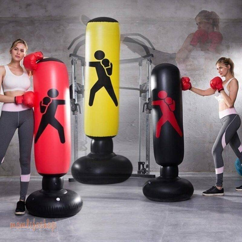 Vertical Inflatable Boxing Bag PVC Thickening Boxing Pillar Tumbler Fight Column Punching Bag Fitness Tool Beauty and Wellness color: Black|Red|Yellow