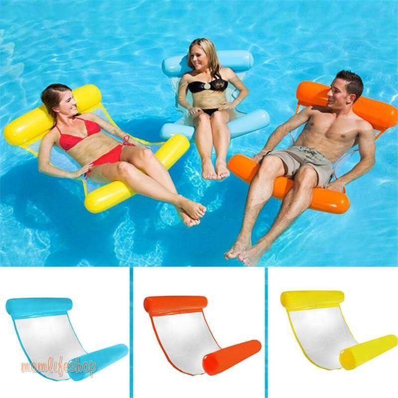 Water hammock recliner inflatable floating Swimming Mattress sea swimming ring Pool Party Toy lounge bed for swimming New and Interesting Finds color: Blue|Fluorescent green|Orange|Red|Rose Red|Royal blue