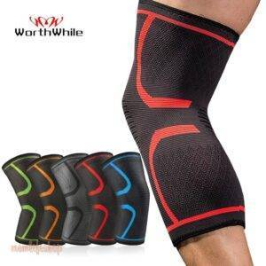 WorthWhil 1 PC Elastic Knee Pads Nylon Sports Fitness Kneepad Fitness Gear Patella Brace Running Basketball Volleyball Support Beauty and Wellness color: 1 Piece Blue|1 Piece Gray|1 Piece Green|1 Piece Orange|1 Piece Red