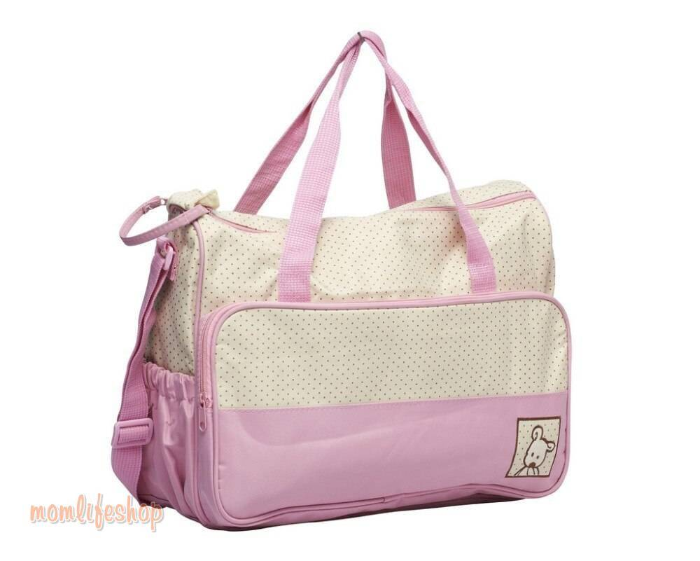 Zippered Polka Dotted Diaper Bags 5 pcs Set