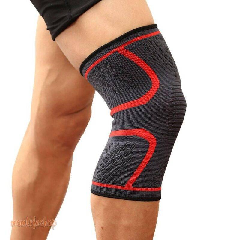 Elastic Knee Protection Sports Support Bandage color: Black|Black with grey|Blue|Green|Orange|Pink|Red