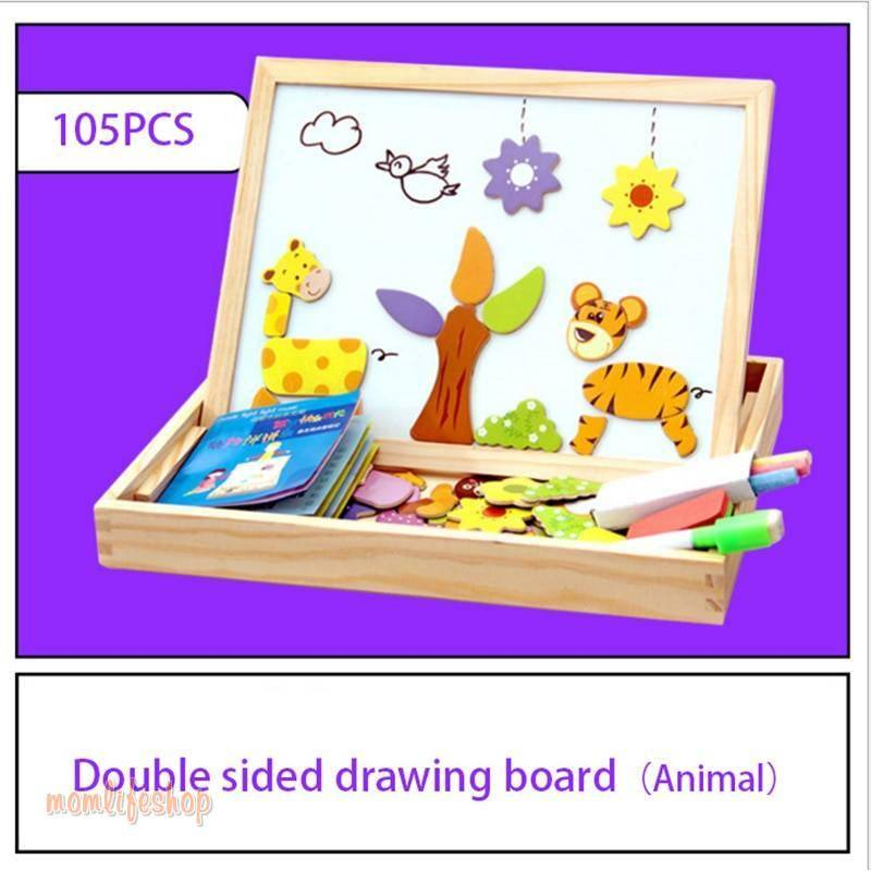 100+Pcs Wooden Multifunction Children Animal Puzzle Writing Magnetic Drawing Board Blackboard Learning Education Toys For Kids Toys, Kids and Baby color: 1|2|3|4|Gray
