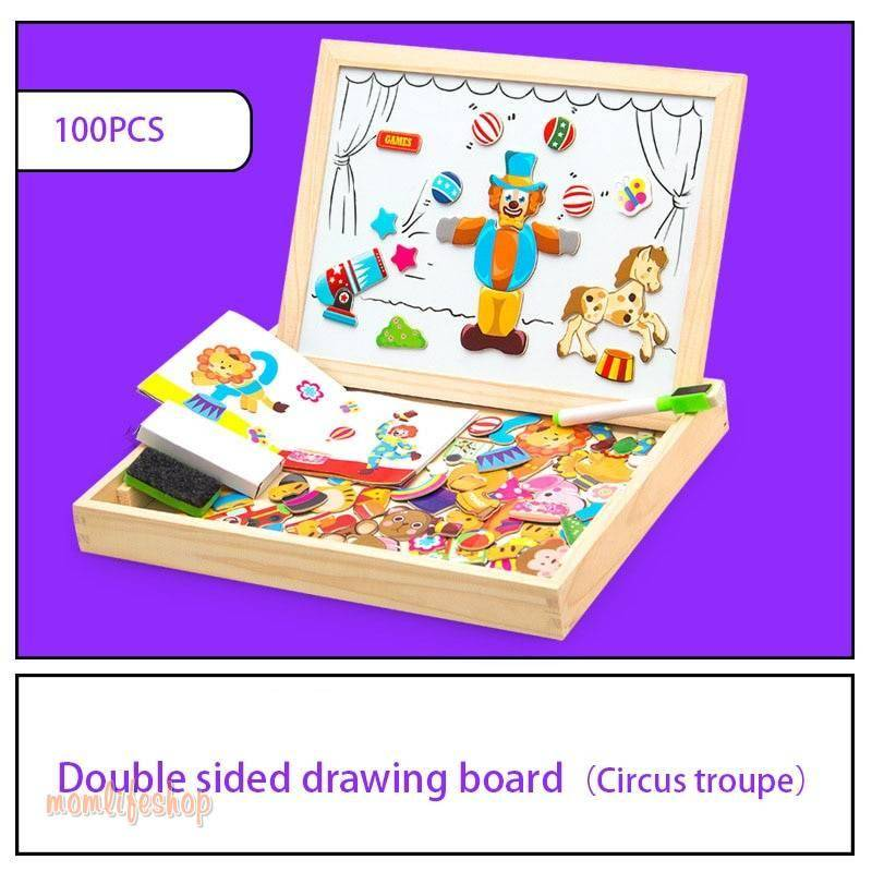 100+Pcs Wooden Multifunction Children Animal Puzzle Writing Magnetic Drawing Board Blackboard Learning Education Toys For Kids