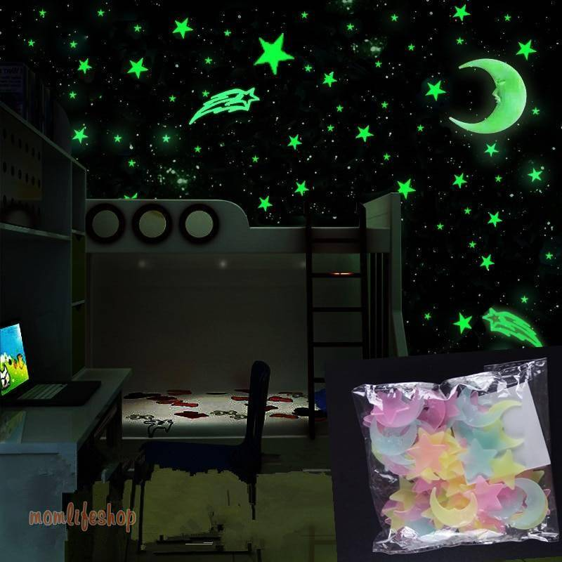 100pcs/set Glow in the Dark Toys Luminous Star Stickers Bedroom Sofa Fluorescent Painting Toy PVC for Kids Bedroom Decor Gifts Toys, Kids and Baby color: A|Blue|Multicolor|Pink|Yellow