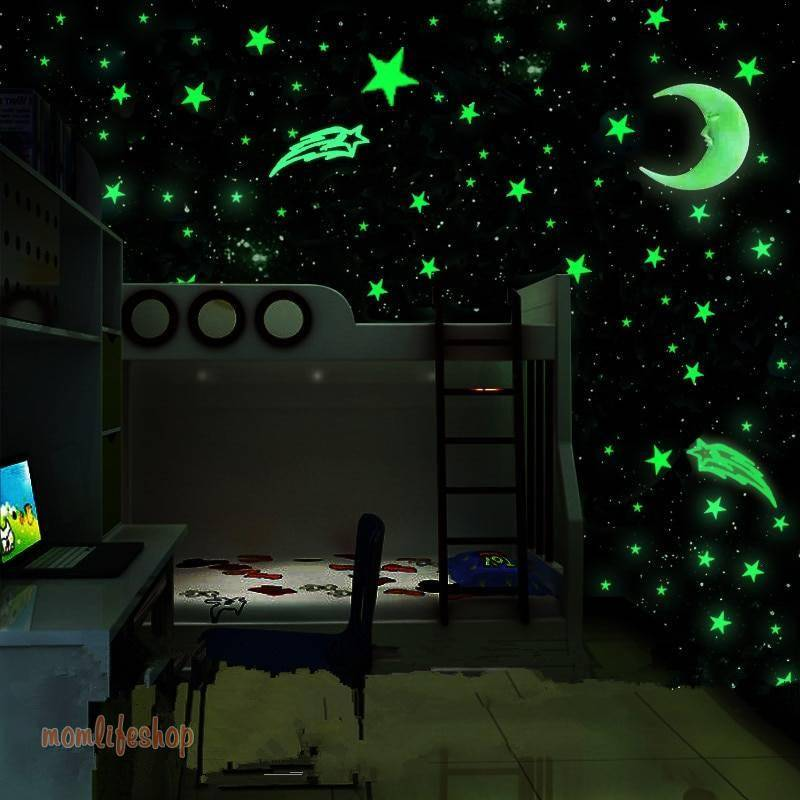 100pcs/set Glow in the Dark Toys Luminous Star Stickers Bedroom Sofa Fluorescent Painting Toy PVC for Kids Bedroom Decor Gifts